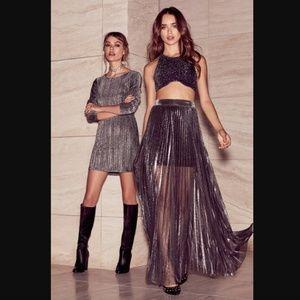 Lulu's Metallic Maven Gunmetal Pleated Maxi Skirt